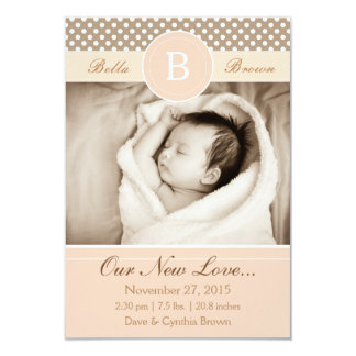 Monogram Neutral Beige Birth Announcement New Love