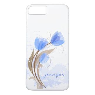 Monogramme moderne de tulipes bleues d'aquarelle coque iPhone 7 plus