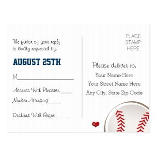 Monogrammed Baseball Wedding RSVP Postcard