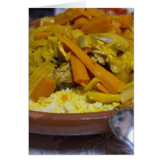 Morocco, Tetouan. Traditional Moroccan meal of Greeting Card