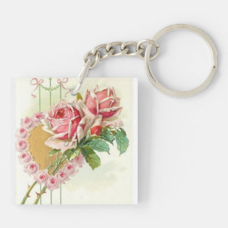 Most Beautiful Vintage Pink Roses and Heart Double-Sided Square Acrylic Keychain