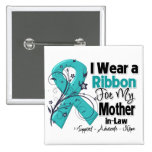 Mother-in-Law  - Ovarian Cancer Ribbon 2 Inch Square Button