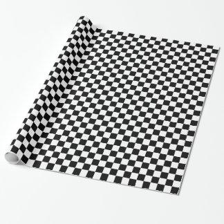 Motif noir et blanc de damier papier cadeau noël