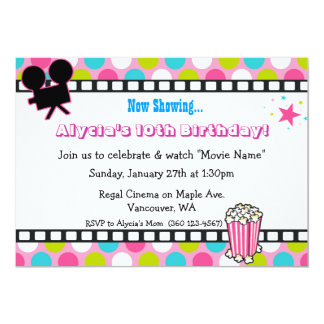 "Movie Star Birthday 5"" X 7"" Invitation Card"
