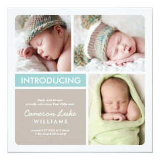 Multiple Photo Birth Announcement | Aqua Taupe
