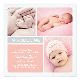 Multiple Photo Birth Announcement | Blush, Gray