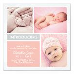 Multiple Photo Birth Announcement | Blush, Grey