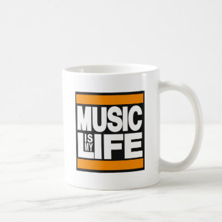 Music is My Life Orange Classic White Coffee Mug