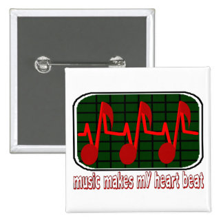 Music Makes My Heart Beat 2 Inch Square Button