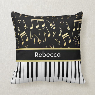 Musical Notes and Piano Keys Black and Gold Throw Pillows