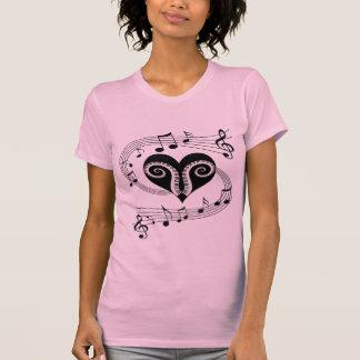 Musical notes heart and piano keys shirt