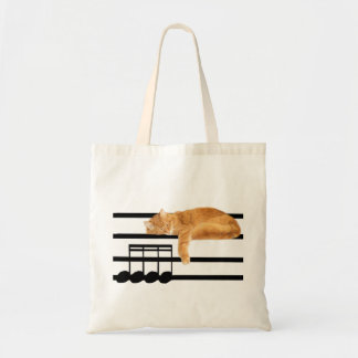 Musical tabby kitty cat budget tote bag