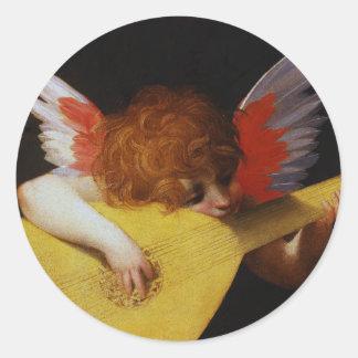 Musician Angel, Rosso Fiorentino Round Sticker