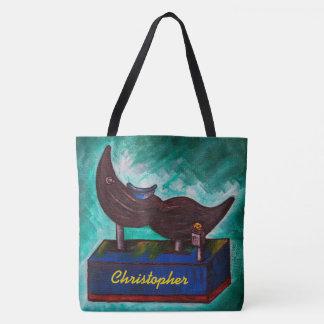 Mustache Ride Nostolgic Humor Painting Art Tote Bag