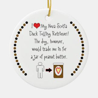 My Duck Tolling Retriever Loves Peanut Butter Round Ceramic Ornament