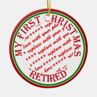 My First Christmas Retired Photo Frame Round Ceramic Ornament