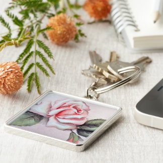 Natalie Rose Silver-Colored Square Keychain