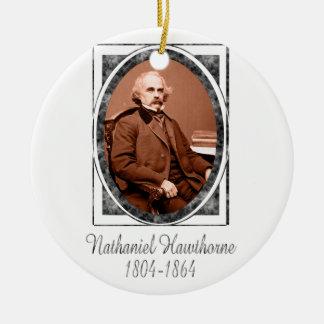 Nathaniel Hawthorne Round Ceramic Ornament