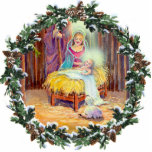 NATIVITY & WREATH by SHARON SHARPE Photo Sculpture Ornament