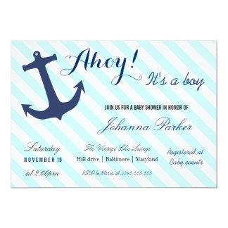 "Nautical Anchor Stripes Its A Boy Baby Shower 5"" X 7"" Invitation Card"