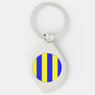 Nautical Flag Letter G (Golf) Silver-Colored Swirl Keychain