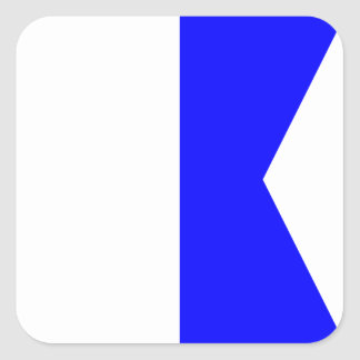 Nautical Flag Signal Letter A (Alfa) Square Sticker