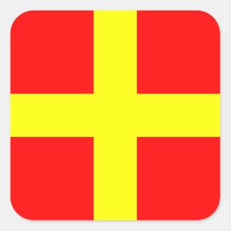 Nautical Flag Signal Letter R (Romeo) Square Sticker