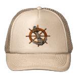 Nautical Ships Wheel And Anchor Trucker Hat