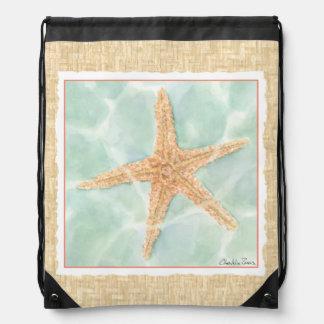 Nautical Starfish in Water Cinch Bag