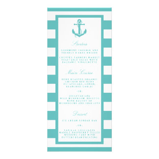 Nautical Turquoise Stripe Anchor Wedding Menu Rack Cards