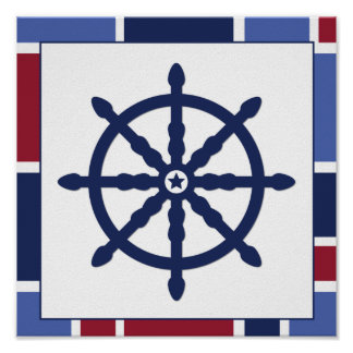Nautical Wave Nursery Wheel Poster