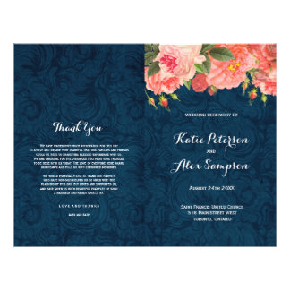 Navy and Coral Shabby Chic Floral Wedding Programs Full Colour Flyer