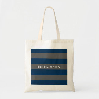 Navy Blue and Gray Rugby Stripes with Custom Name Budget Tote Bag
