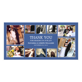 NAVY BLUE COLLAGE   WEDDING THANK YOU CARD PHOTO CARDS