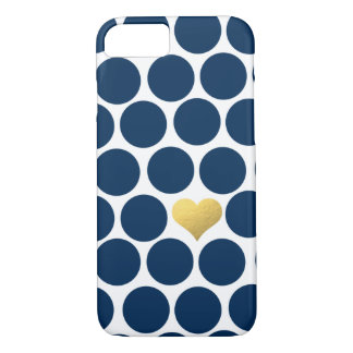 Navy Blue Polka Dot Gold Foil Heart iPhone iPhone 7 Case