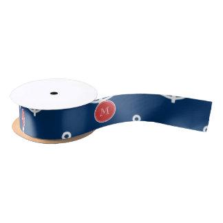Navy Blue White Anchors Pattern, Red Monogram Satin Ribbon