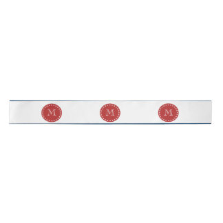 Navy Blue White Stripes Pattern, Red Monogram Satin Ribbon
