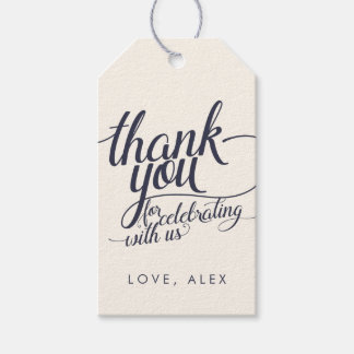 Navy & Cream Calligraphy Thank You Favor Tags Pack Of Gift Tags