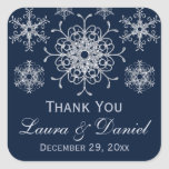 Navy Silver Glitter LOOK Snowflake Wedding Sticker