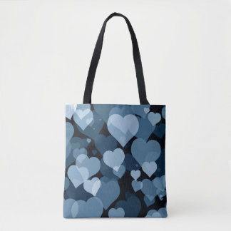 Navy Valentine Hearts All-Over-Print Tote Bag