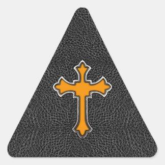 Neon Orange Cross Black Vintage Leather ImagePrint Triangle Sticker