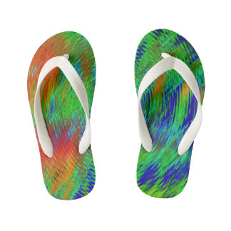 Neon psychedelic kids flip flops-for cool kids! kid's flip flops