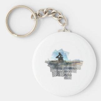 Neptune Panograph Basic Round Button Keychain