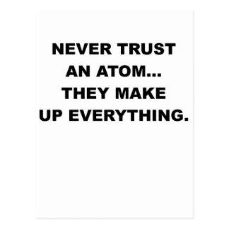 NEVER TRUST AN ATOM.png Postcard