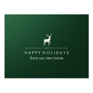 New Address at Christmas Green and Silver Reindeer Postcard