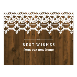 New Address Brown Rustic Wood with White Lace Postcard