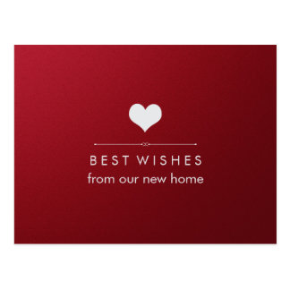 New Address Sweet and Elegant Red and Silver Heart Postcard