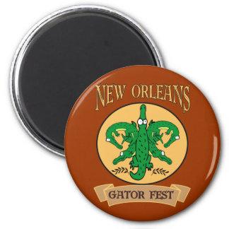 New Orleans Gator Fest Alligator Fleur De Lis 2 Inch Round Magnet