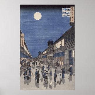 Night time view of Saruwaka Street Poster