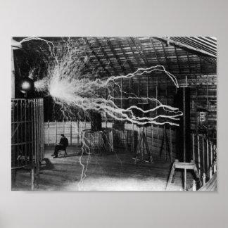 Nikola Tesla - Bolts Of Electricity Poster
